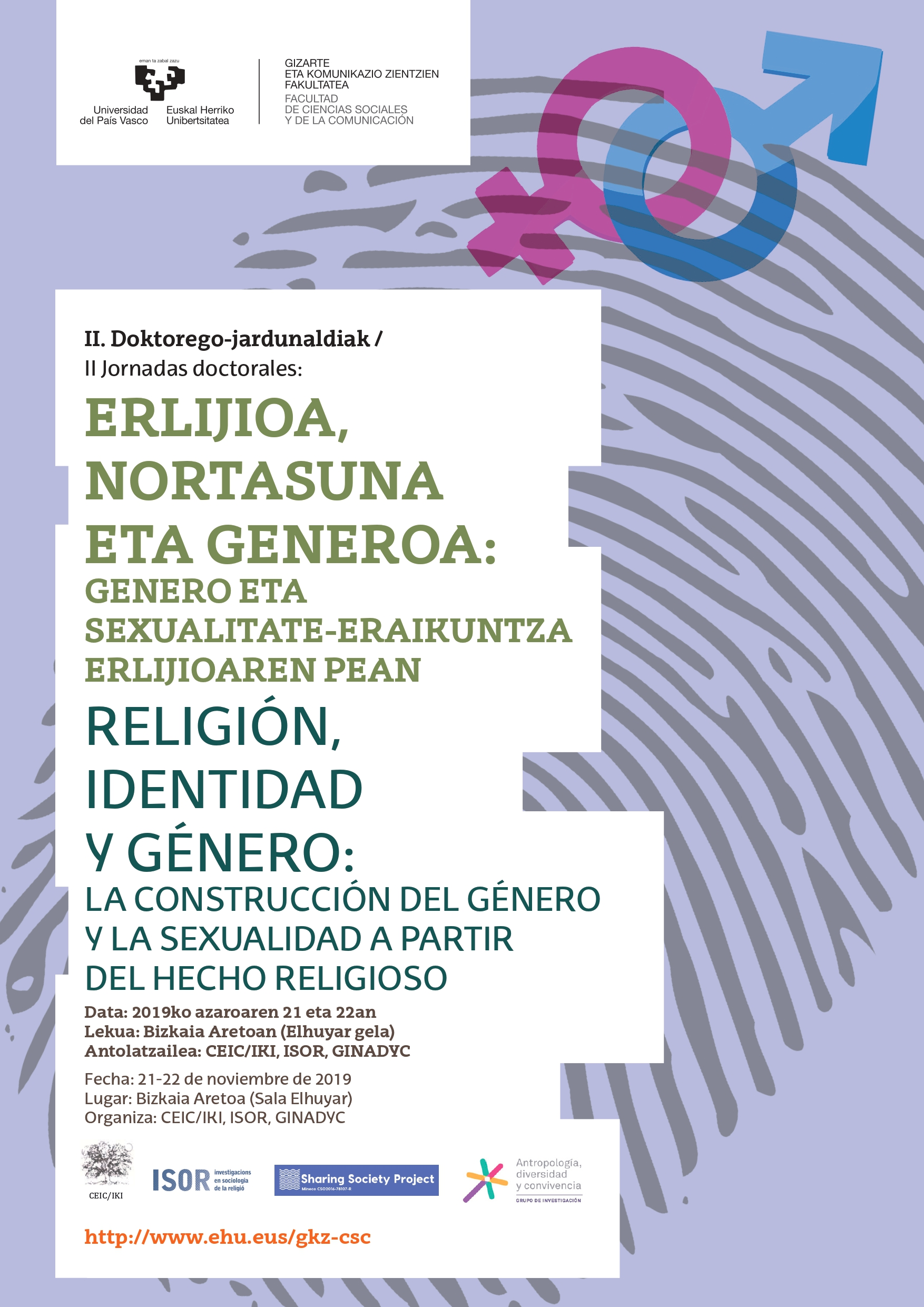 II Jornadas doctorales. Religión, identidad y género: la construcción del género a partir del hecho religioso